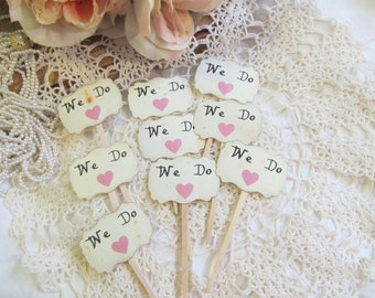 We Do Mini Cupcake Toppers Party Picks w/Rose Pink Hearts - Set of 16 - Clearance Overstock - Ready to Ship
