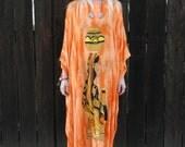 Boho Caftan // Kaftan Maxi Dress // Festival Clothing // Beach Coverup // Bright Orange // Novelty Print // Ethnic Dress // XS SMALL MEDIUM