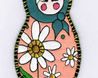 Handmade Daisy Babushka Ornament