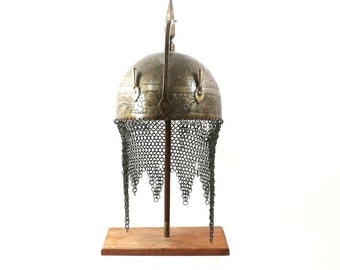 Antique Indo Persian Helmet, 1800's Armor, Steel Mesh & Engraved