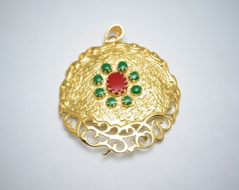 1pc- Matte 22K Gold plated medallion with green and red bead-52x45mm (022-001GP)