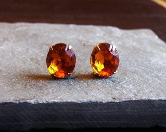 Amber topaz earrings, oval glass jewel stud earrings, vintage jewel posts, orange earrings, gold brass earrings, estate style earrings