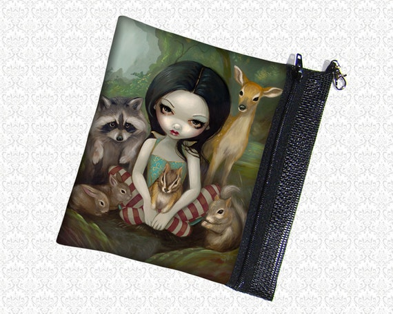 Jasmine Becket-Griffith Snow White Animal Friends cosmetics pouch wristlet, travel bag,