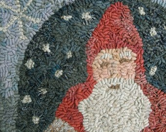 Wooly Santa PAPER Pattern for rug hooking and punchneedle embroidery