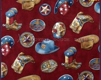 "RJR Red River III Western Texas Cowboy Hats Boots Buckles Cotton Fabric 1/2 Yd 18"" x 44"" Burgundy"