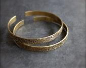 Floral Cuff Bracelet Set - Etched Gold Brass, Dark Oxidized Patina, Thin Skinny Cuffs, Textured Metalwork, Boho Jewellery