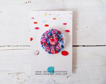 Spring girl pin illustrated flora button brooch