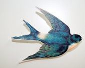 Wooden Flying Swallow Bird Brooch