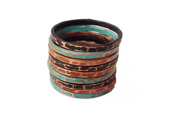 Stacking Ring Set of 9 -  Copper multi finish ring stack - nine rings total in set - sealed - patina stack rings - handmade in Austin, Tx