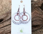 Circle Earrings. Mixed Metal. Dangle. Aluminum. Copper. Wire Jewelry.