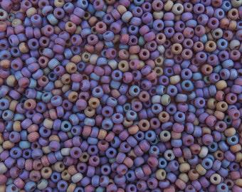 6/0 Matte Transparent Topaz Rainbow Czech Glass Seed Beads 20 Grams (CS49)