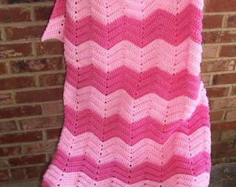 Crochet  Afghan, Pink Chevron Afghan, Blanket Throw, Lap Robe, Breast Cancer Chemo Blanket