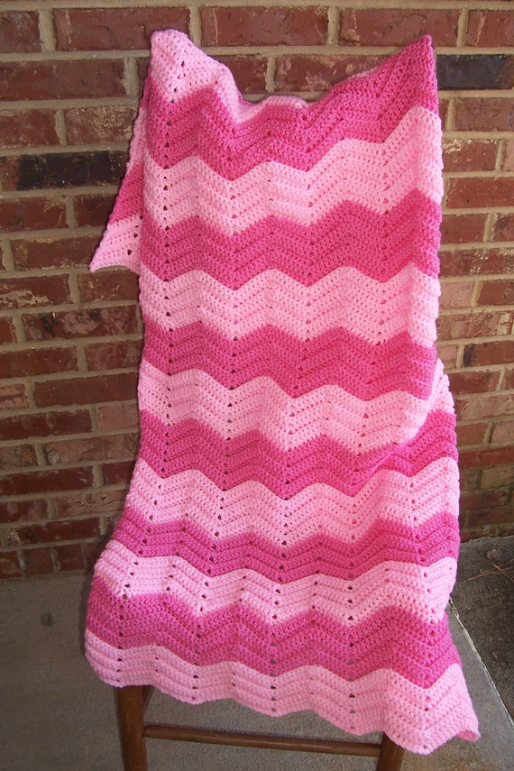 Crochet  Afghan | Pink Chevron Afghan | Blanket Throw | Lap Robe