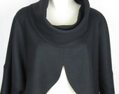 Women clothing, classic style, loose fit top, pure wool, black wool top, stylish black jacket, designer fashion