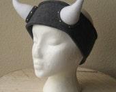 Custom Fleece Viking Headband - Horned Ear Warmer - Choose Any Size and Color