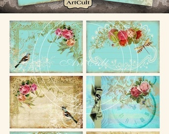 printable download VICTORIAN CHARM  Digital Collage Sheet gift tags greeting cards jewelry holders vintage ephemera paper craft ArtCult
