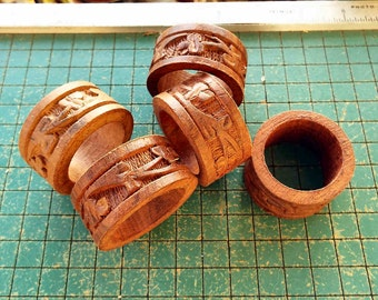 5 old carved wood napkin rings, vintage 1970s, nostalgia, place setting, tropical wood carvings, old hand crafts
