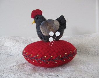 Pincushion - Cheeky Chicken with a secret scissor holder space
