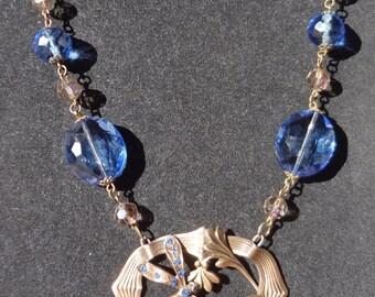 Vintage Art Nouveau Dragonfly Necklace--Sky blue rhinestones
