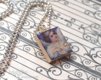 Angel Scrabble Necklace, WINGED ANGEL Handmade Scrabble Tile Art Pendant, Wood Pendant, Charm, Periwinkle, Amethyst, Tiny Jewelry