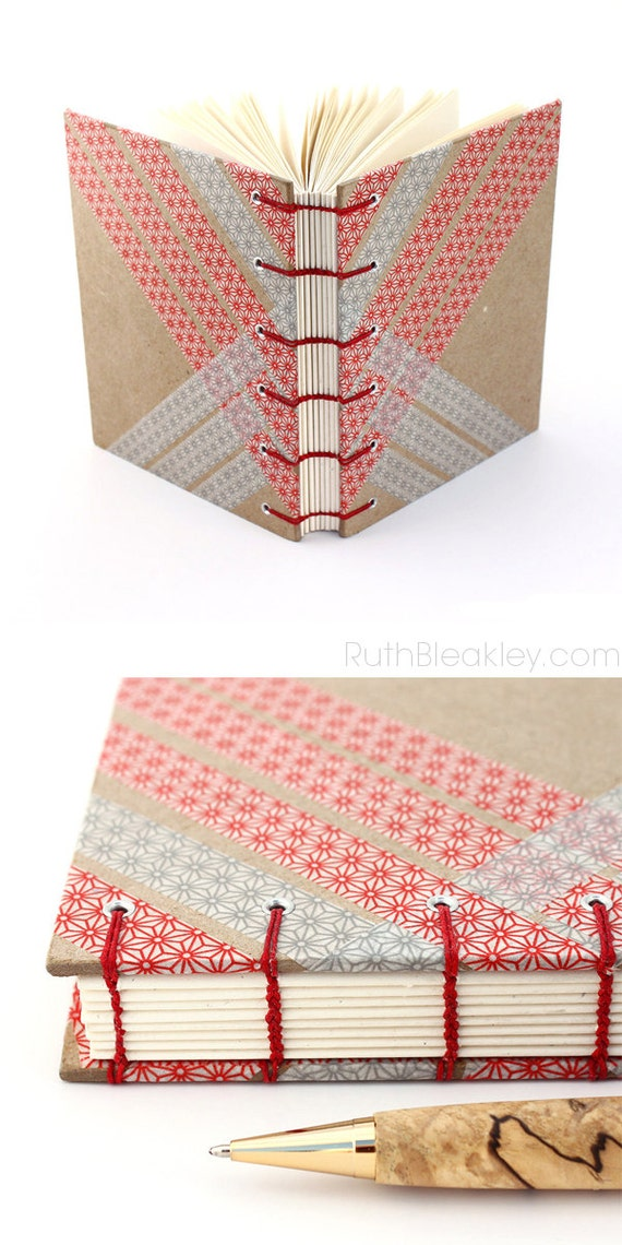 Washi Tape Journal - Handmade Coptic Stitch Blank Book