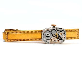 Steampunk Antique 1938 Longines Watch Movement Brass Tie Bar Alligator Clip