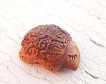Little Orange Wood Turtle bead - Sleepy Woodland Critters hand painted forest animal bead (ready to ship)
