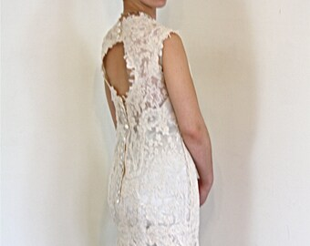 RESERVED- LAYAWAY --- Sheer Lace Wedding Dress Mermaid Short Cap Sleeve Open Back Full Chantilly Lace Netting Champagne Vintage Wedding Gown