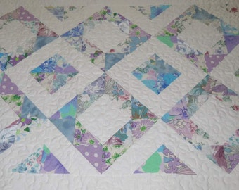 """Lap Quilt, """"Down the Garden Path"""", Upcycled Vintage Sheets, Eco-friendly"""