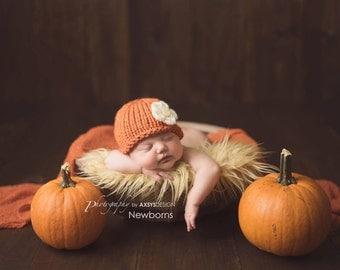 Newborn Pumpkin Hat, Newborn Photo Prop, Pumpkin Newborn Hat, Winter Newborn Hat, Newborn Girl Hat, Knit Newborn Hat, Newborn Beanie Hat