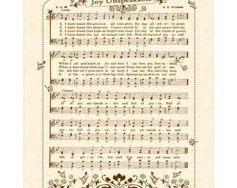 JOY UNSPEAKABLE And Full Of Glory - Hymn Art - Custom Christian Home Decor - VintageVerses Sheet Music - Inspirational Wall Art - Sepia