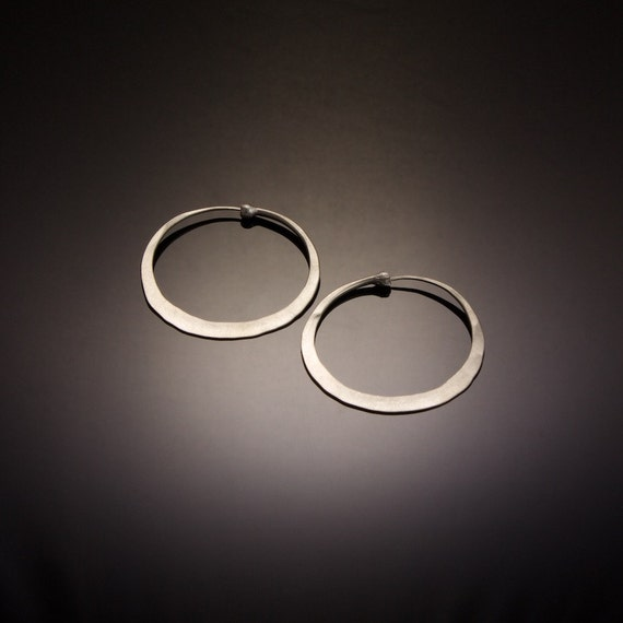Matte Satin Finish Silver Hoop Earrings // Medium Sterling Silver Hoops