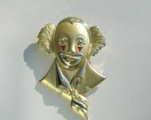 Clown Brooch Large 80s Red Resin Enamel Pin Vintage 1980 Figural Costume Jewelry