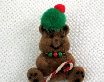 Candy Cane Bear Hat or Lapel Pin Vintage 70s Holiday Jewelry