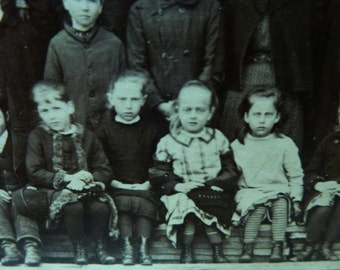 Unhappy Victorian Scary School Children. Sepia Group Photo.
