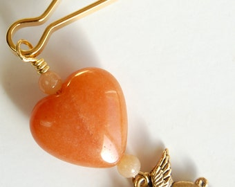 Carnelian Heart n Golden Pigasus Zipper Pull, Flying Pig Purse Charm, When Pigs Fly Backpack Charm