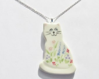 Ceramic Garden Cat Pendant, Floral Kitty Cat Necklace, Pottery Cat Necklace, Cat Lovers Necklace