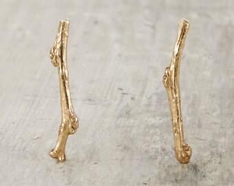 Garland Earrings - 14kt Gold Twig Earrings Cast From a Genuine Twig