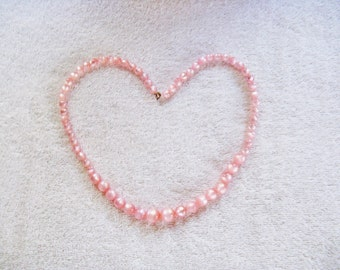 Vintage Long Pink Moonglow Lucite Necklace (N-2-4)