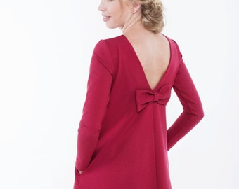 Red dress | Spring dress | Dress with pockets | LeMuse red dress