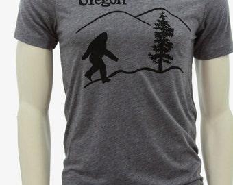 Oregon Bigfoot| Soft Lightweight T Shirt| men's unisex| Sasquatch| Art by MATLEY| Crew & V-neck| Hometown| Destination tees| Travel tees.