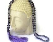 Yoga Meditation Amethyst Mala Spirituality 108 Beads Necklace, stability, peace, calm, balance, angels, telepathy, courage, inner strength