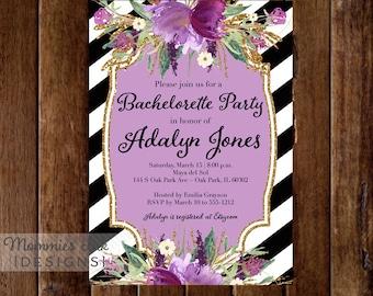 Amethyst Flowers Bachelorette Party Invitation - Black and White Stripes Invitation - Lavender Flowers - Printable Invitation