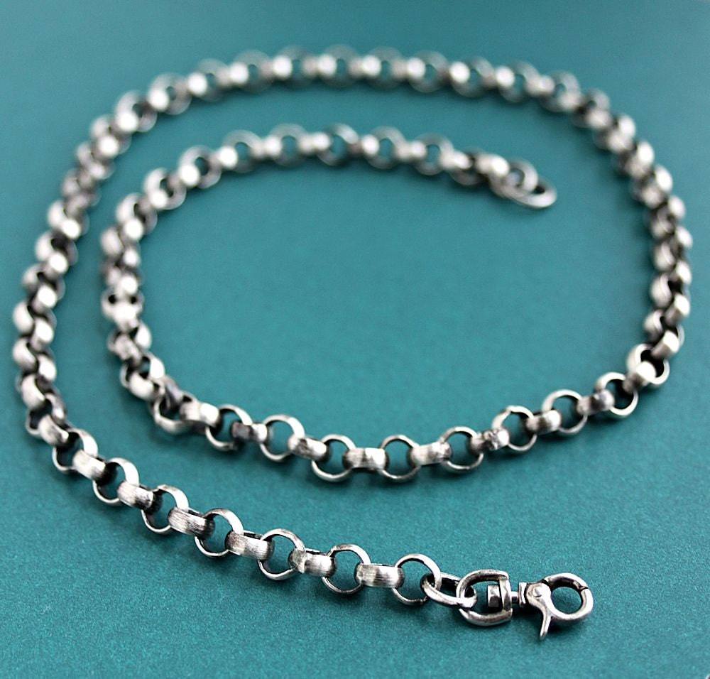 mens rustic chain sterling silver necklace large link oxidized. Black Bedroom Furniture Sets. Home Design Ideas