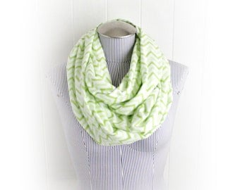 Light Lime Green and White Chevron Infinity Scarf, Zig Zag Print Flannel Scarf
