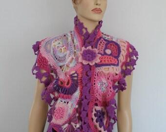 SALE 40% OFF Pink Purple Lilac Ivory Chunky Freeform Crochet  Scarf Shawl Capelet with Flower Brooch/ Wearable Art / OOAK /  Bohemian Scarf