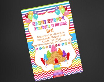 Candy Shoppe Birthday Invitation, Candy Birthday Invitation, Girls Birthday Candyland Birthday Invite, Printable Invite