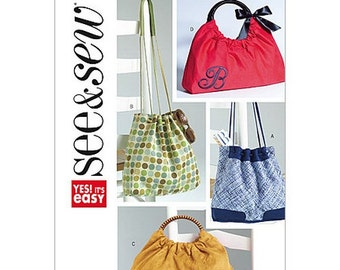 Sew & Make Butterick B4645 SEWING PATTERN - Womens Easy Drawstring Handle Handbags Purses