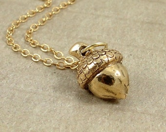 Acorn Necklace, Gold Plated Acorn Charm on a Gold Cable Chain