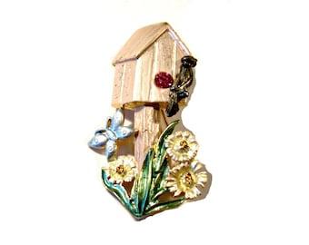 Vintage Birdhouse Pin Brooch, Garden Jewelry, Signed AS, Pink Rhinestone, VisionsOfOlde